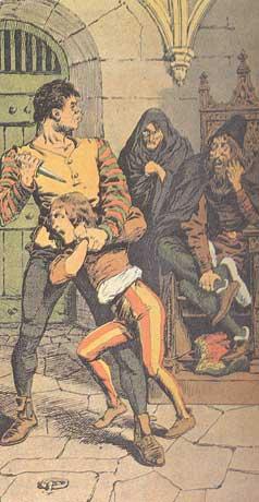 Λαϊκή απεικόνιση του Gilles de Rais σε γκραβούρα για την εικονογράφηση βιβλίου ιστορίας της Γαλλίας.  Τ�λη 19ου αιώνα.