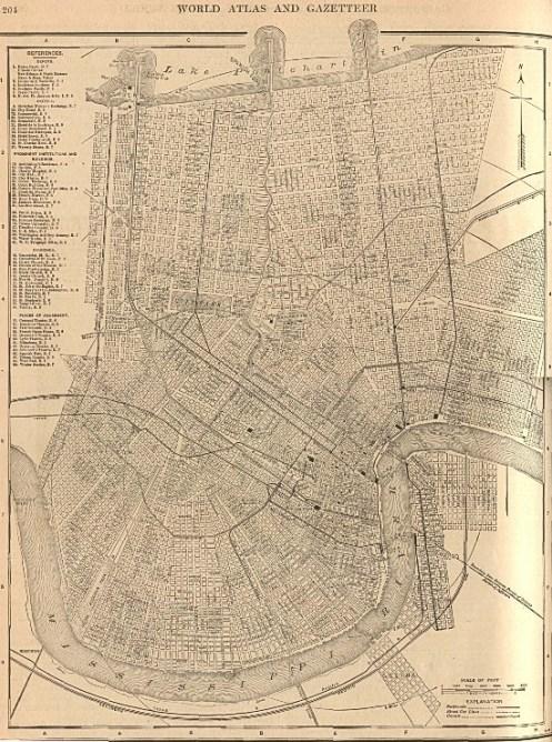 Η Ν�α Ορλεάνη σε χάρτη του 1908