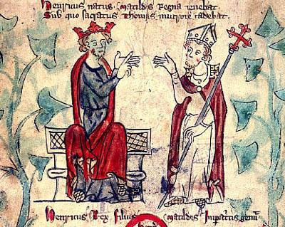 Ερρίκος Β΄ και αρχιεπίσκοπος Θωμάς Μπέκετ το 1170 (εικονογράφηση του χρονικού του Πέτρου Λάνγκτοφτ, περ. 1300-1320)