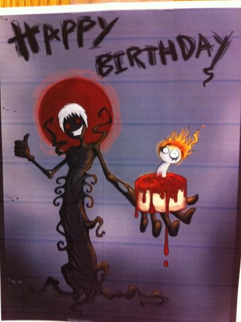 bloody birthday greetings