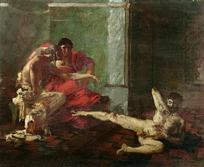 Η Λοκούστα δοκιμάζει δηλητήριο σε σκλάβο, παρουσία του Νέρωνα - Λάδι σε καμβά του Joseph-Noel Sylvestre