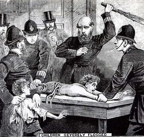 Σκηνή τιμωρίας σε αναμορφωτήριο, μέσα 19ου αιώνα.