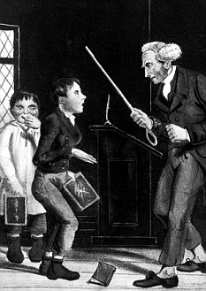 Illustration re corporal punishment of schoolmaster w. cane about to adminster a beating to two pupils. (Photo by Time Life Pictures/Mansell/Time Life Pictures/Getty Images)