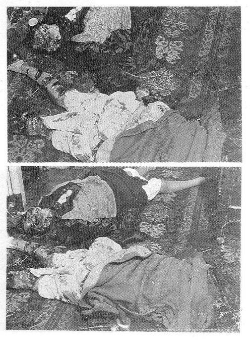 Tα κατακρεουργημένα πτώματα της Léonie και της Geneviève Lancelin, στο πλατύσκαλο του πρώτου ορόφου