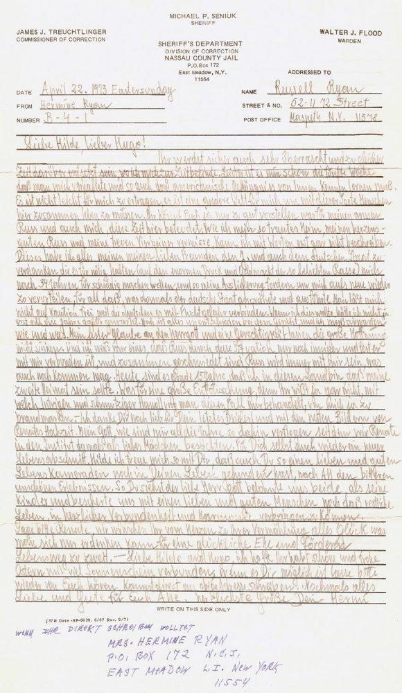 ΄Γράμμα της Braunsteiner σε φίλους της, από την φυλακή του Nassau
