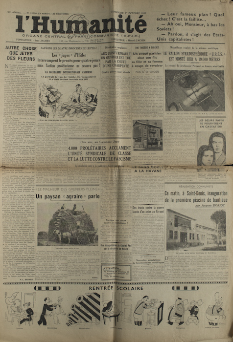 L'Humanité du Dimanche 1er Octobre 1933