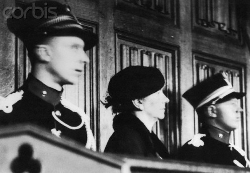 13 Jun 1938, Liège, Belgium --- Marie Becker, 59-year-old widow, in the dock in the Palais de Justice here as she went on trial accused of murdering ten women and one man with poison and attempting to poison five other persons. Becker, who begin her poisining spree with her husband and then her lover then moved onto elderly victims, whom she is said to have met in a Liege park. Becker often convinced the victims to allow her to be their nurse and then to have poisoned them for their money and other valuables. She was convicted and spent the rest of her life in prison. --- Image by © Bettmann/Corbis