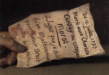 Ζακ Λουί Νταβίντ, Ο Θάνατος του Μαρά - λεπτομέρεια, 1793