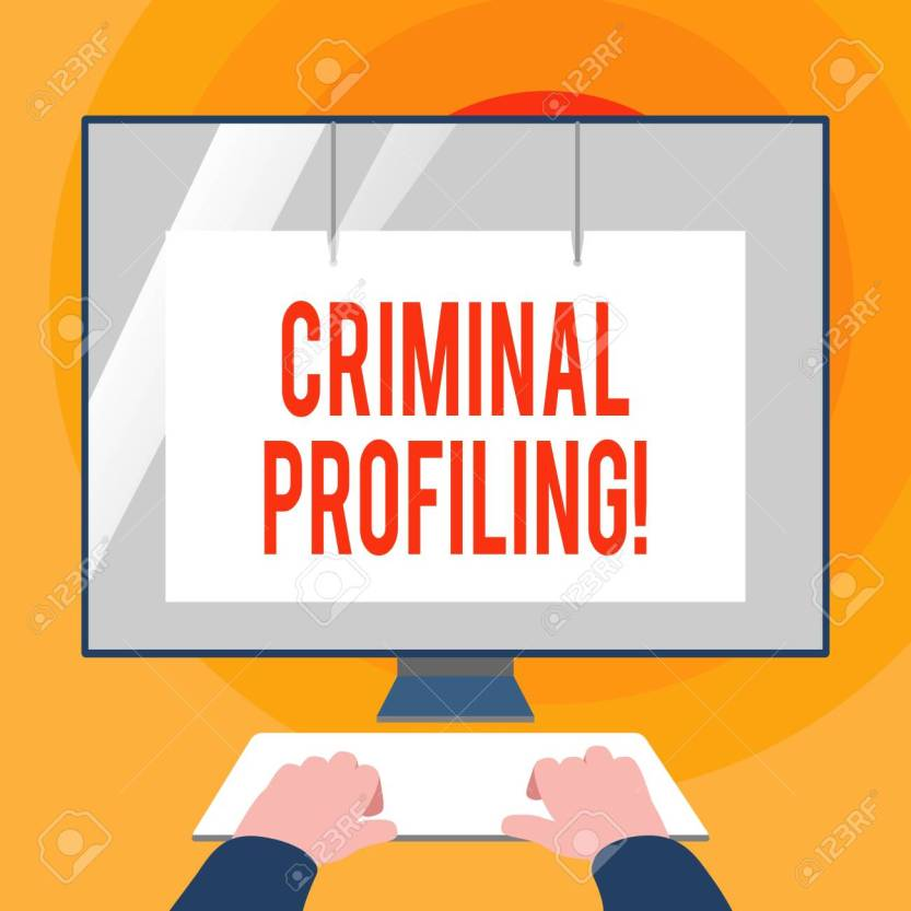 Word writing text Criminal Profiling. Business concept for Develop profiles for criminals who not yet apprehended Hands on Mockup Keyboard Front of Blank White Monitor with Screen Protector.